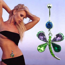 Colorful Butterfly Shaped Rhinestone Stainless Alloy Belly Button Ring Charming Body Jewelry(China)