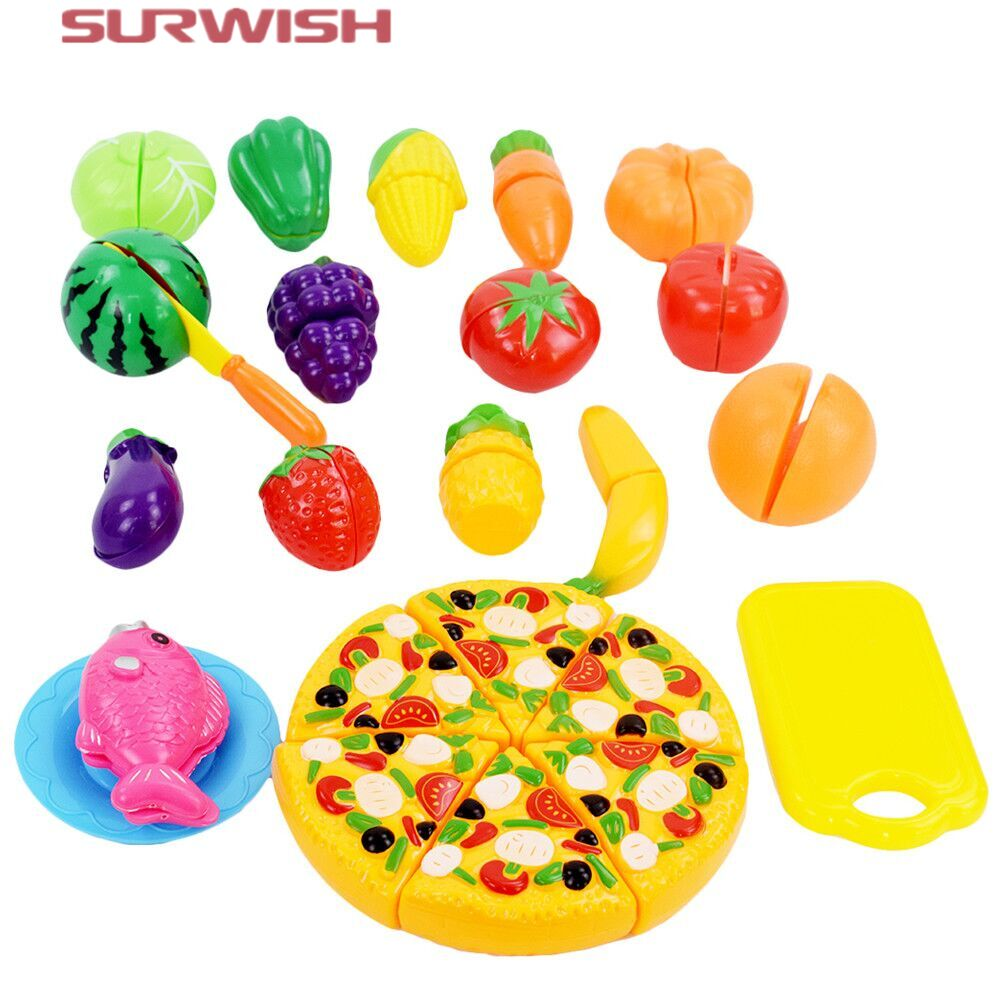 Surwish 24 Pcs Set Plastic Fruit Vegetable Kitchen Cutting Toys Early Development and Education Toy for