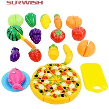 Surwish 24 Pcs/ Set Plastic Fruit Vegetable Kitchen Cutting Toys Early Development and Education Toy for Baby Kids Children