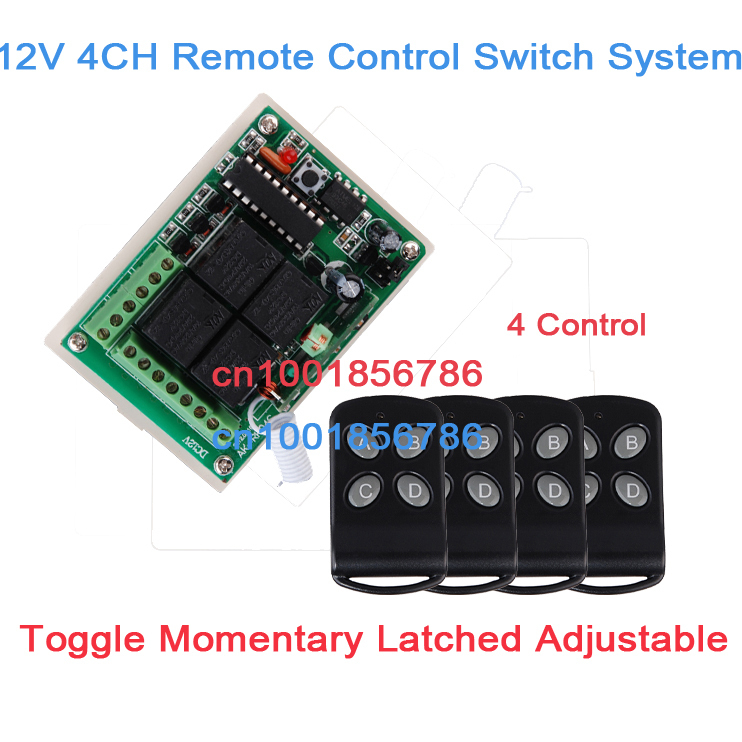 NEW! 4 Relay CH Wireless Receiver&Transmitter DC12V Momentary Toggle Latched RF Remote Control Switch System LED SMD ON OFF new dc12v 4 relay ch momentary toggle latched rf remote control switch system wireless receiver