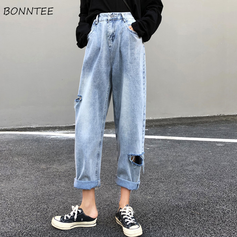 Jeans   Women Chic Loose Simple Hole Korean Style Summer Harem Trousers Womens Casual New High-Waist All-match High Quality Trendy