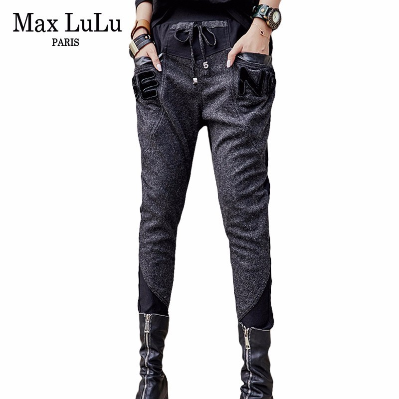 Max LuLu 2018 Famous Brand Punk Ladies Patchwork Harem Pants Women Black Winter   Jeans   Mujer Vintage Woman Elastic Denim Trousers