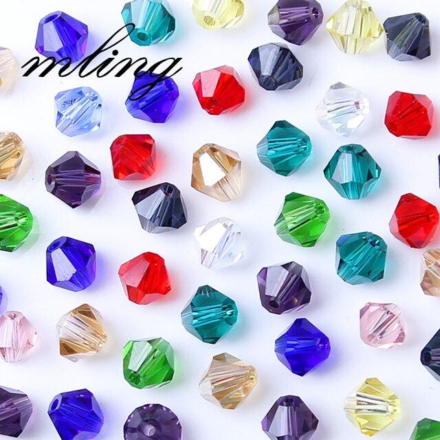 Cuentas de cristal de bicón checo de 3/4/6mm para hacer joyería suministros de bricolaje cuentas de cristal espaciadoras de colores mezclados venta al por mayor