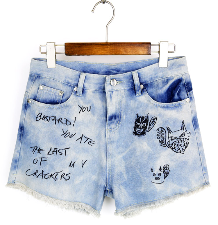 Mid Waist Denim Shorts Women Letter Ripped Loose Wide Leg Short Jeans Punk Sexy Hot Summer Fashion Short Pants B75306J сухие бассейны pilsan шарики для сухого бассейна 60 мм 500 шт