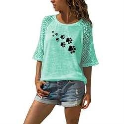 Новая модная футболка для женщин, кружевная футболка с вырезом лодочкой, футболка с принтом собачьей лапы и букв, женские топы, летние