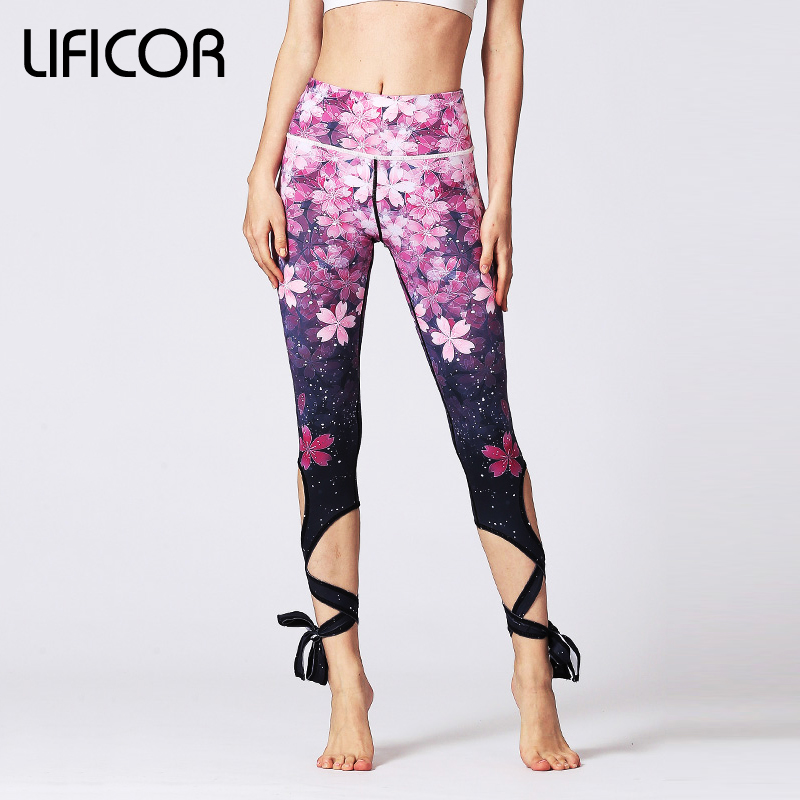 2018 Women Athletic Pants Fitness Leggings Sexy Yoga Pants Slim Running Sport Pants For Female Gym Print Slim Fit Elastic Waist