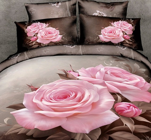 Awesome 3D Pink Rose Flower Bedding Set Duvet Cover Fitted Bed Sheet Sheets  Bedspread Linen Cal King
