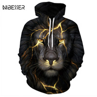 NIBESSER Fashion 3D Printed Men Hoodies Lighting Lion Shaped Sweatshirt Pullover Top Hooded Hoodies Couple Hiphop Streetwear