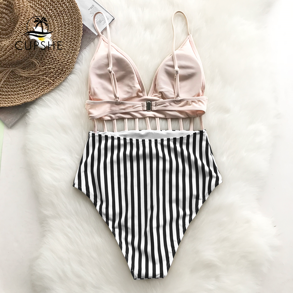 CUPSHE Pink V-neck Strappy One-piece Swimsuit Women Striped Adjustable Cut Out Monokinis 2019 Girl Beach Backless Swimwear