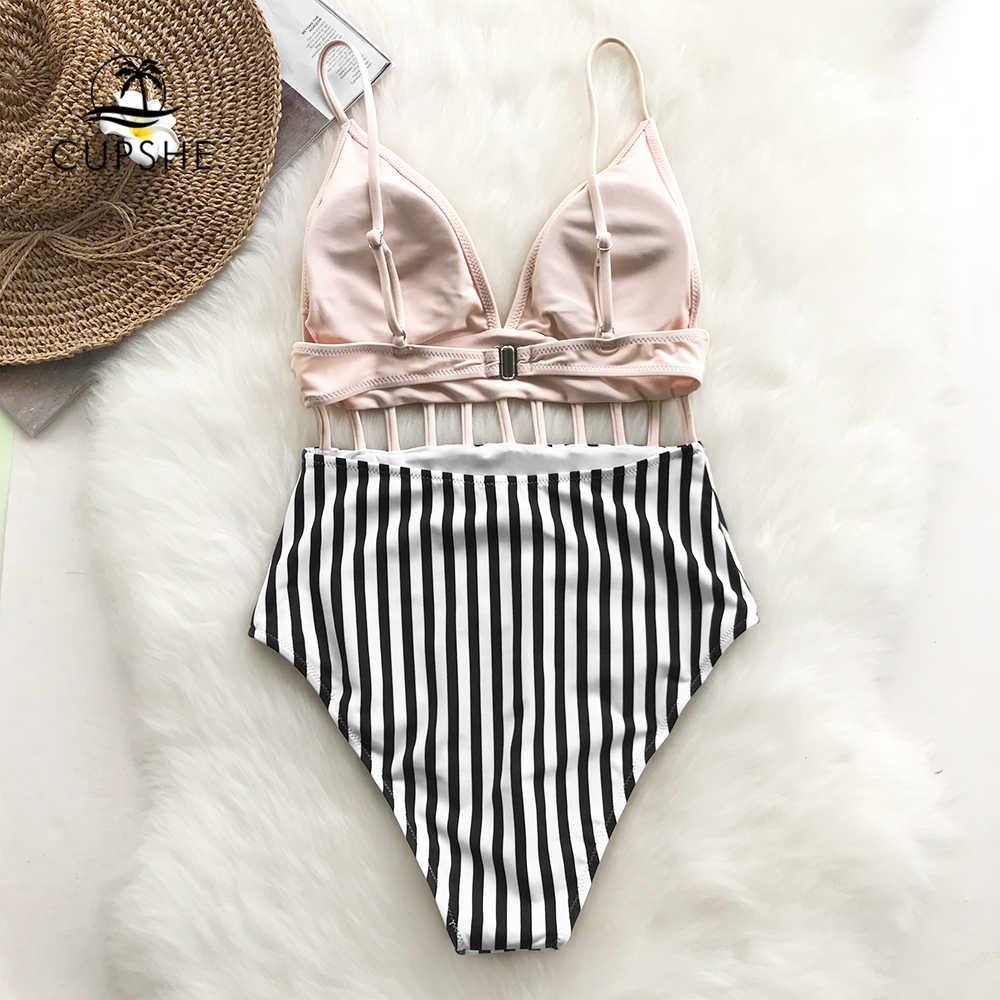 CUPSHE розовый v-образный вырез Strappy цельный купальник женский Полосатый Регулируемый вырез Monokinis 2019 девушка пляж спинки Купальники