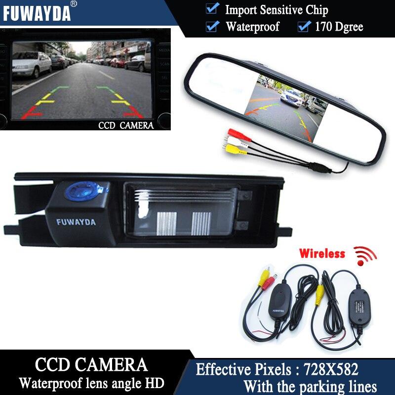 FUWAYDA sans fil couleur CCD voiture puce caméra de recul pour Toyota RAV4 RAV-4 + 4.3 pouces rétroviseur moniteur HD étanche
