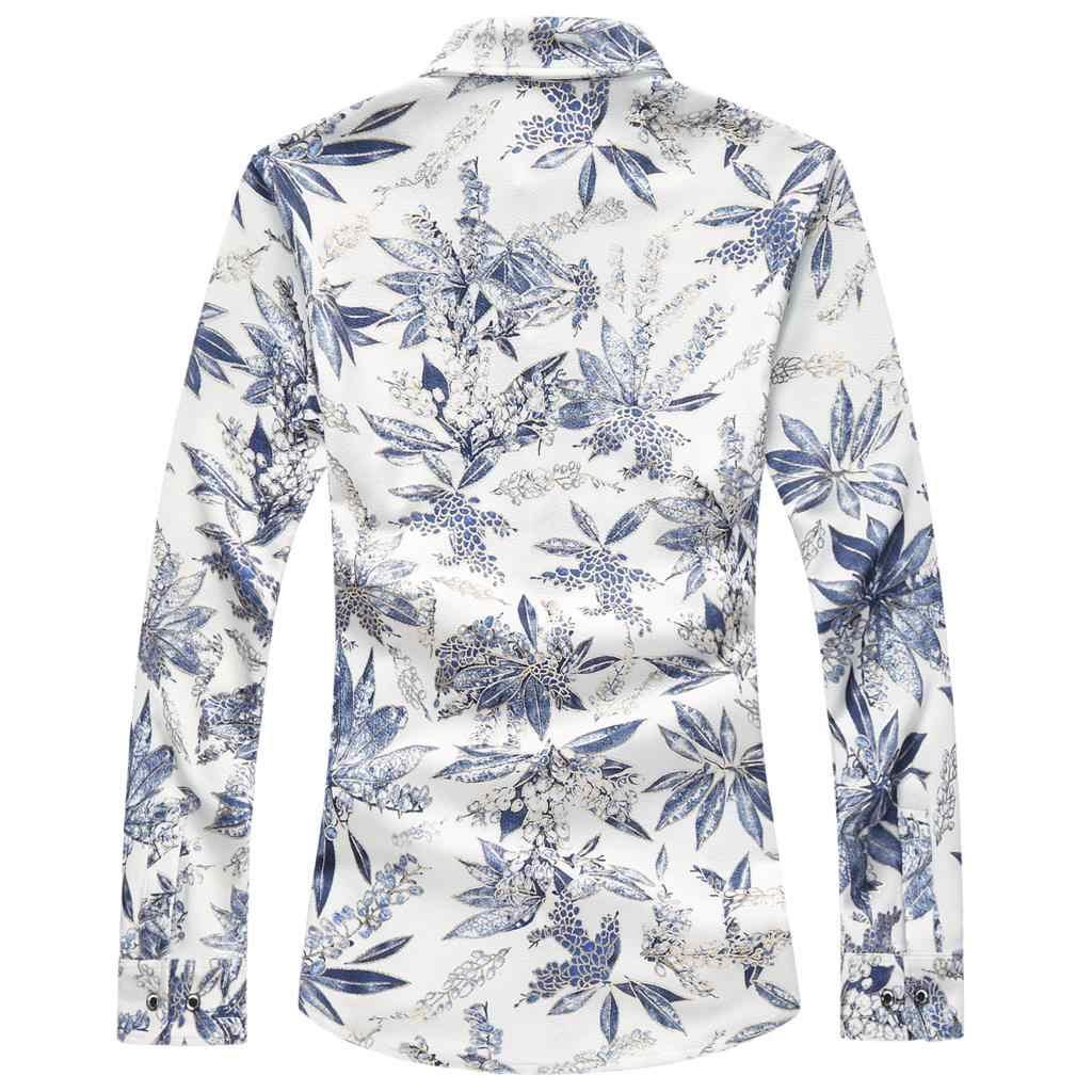 Модная рубашка с длинными рукавами Для мужчин s 2019 Демисезонный брендовая мужская гавайская рубашка Повседневные принты Для мужчин рубашка плюс Размеры M-7XL высокое качество