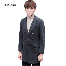 New arrival style men woolen coat men's fashion casual suit collar triple breasted solid slim blazers jacket large size M-4XL