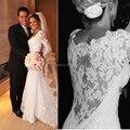 Pequeno Trem V-neck Sexy Bainha Manga Comprida Simples Elegantes Vestidos de Noiva Com Ver Através de Ata de Volta Vestidos De Noiva