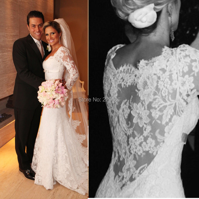 Small Train V-neck Sexy Sheath Long Sleeve Simple Elegant Wedding Dresses With See Through Lace Back Vestidos De Noiva