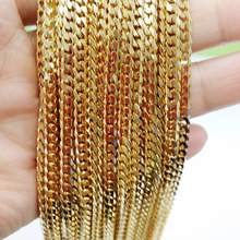Granny Chic Hot Sale Mens Necklace Fashion 4mm Stainless Steel Gold Curb Cuban Chain Charm Jewelry For Women