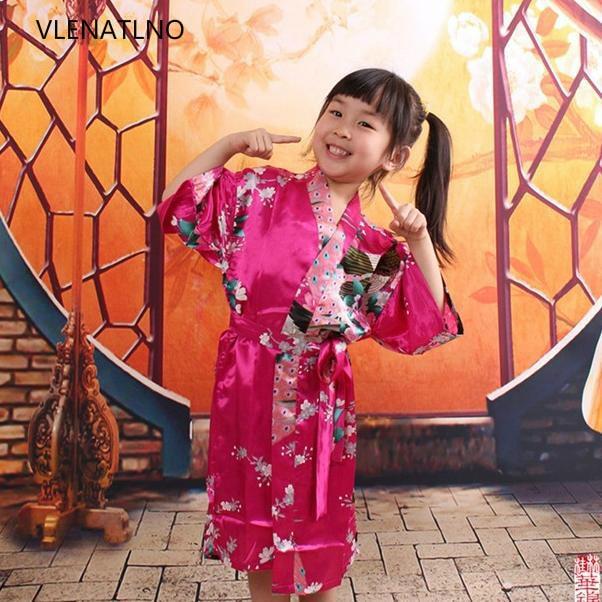 Kids Robe Satin Children Kimono Robes Bridesmaid Flower Girl Dress Silk childrens bathrobe Nightgown Kimono Peacock robe