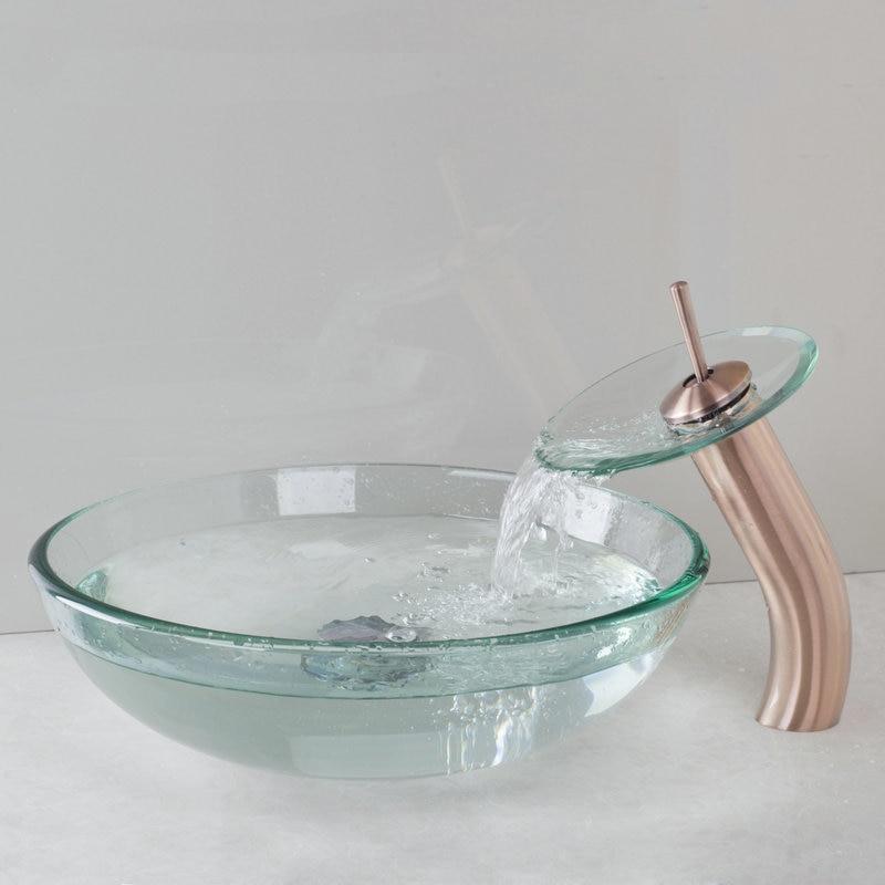 ჱLavabo grifo contemporáneo suntuoso delicado cristal del