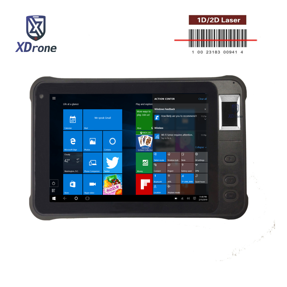 Original K75 Windows 10 maison 1D lecteur de codes à barres 2D Scanner Laser PDA Scanner d'empreintes digitales portable POS ordinateur tablette PC USB GPS