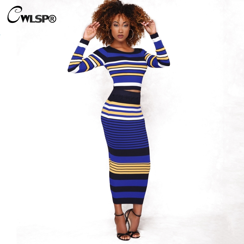 Casual Two piece set Knitted Striped dress Ribbed