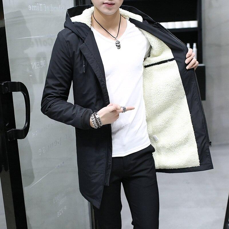 Winter warm Jacket men hooded Slim Korean   Parka   Hombre men long Jacket coat cashmere mens windbreaker   Parkas   youth clothing
