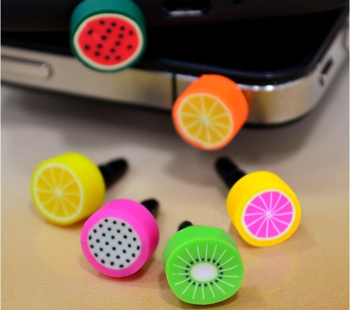 6 pcs/lot hot Sale Lovely Earphone Limited Dust Plug Dachshund 2016 New Cute fruit Dustproof Plug Caps Cell Phone Accessories