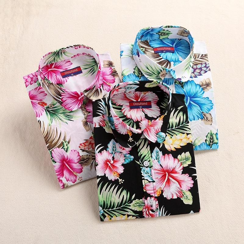 Camisa de playa de manga larga del verano de las mujeres blusas florales de algodón de impresión de las señoras nuevas blusas mujeres de talla grande ropa de moda