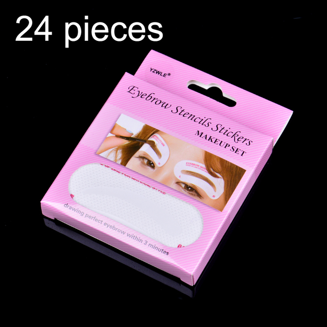 24 Pcs Non Wovens Eyebrow Stencil Set Eye Brow DIY Drawing Guide Styling Shaping Grooming Template Card Easy Makeup Beauty Kit 1