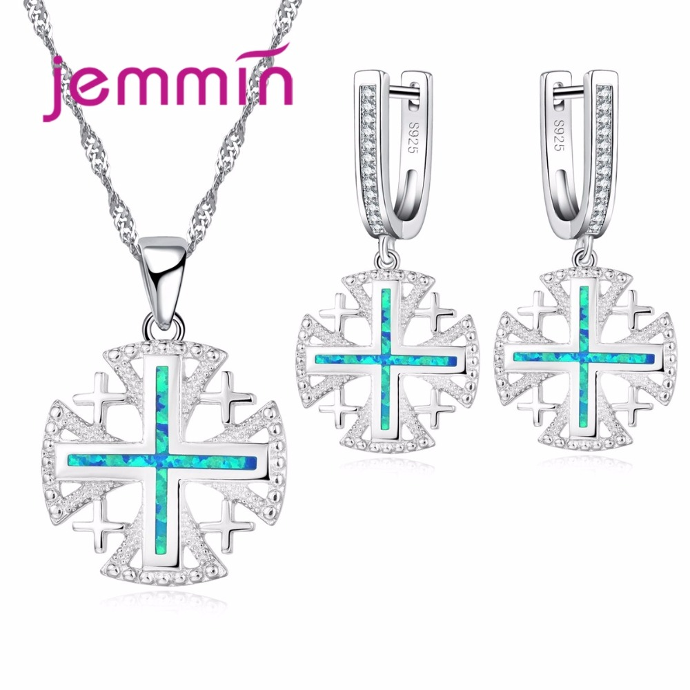 Women Fine S90 Silver Color Bridal Jewelry Sets With Blue Fire Opal Pendants Necklace Earrings Set For Party Bijoux