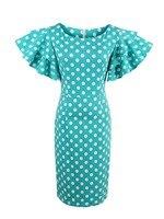 Kissloves Women Summer Dress Bodycon Blue White Polka Dot Dresses Knee Length Petal Sleeve Vintage Pullover