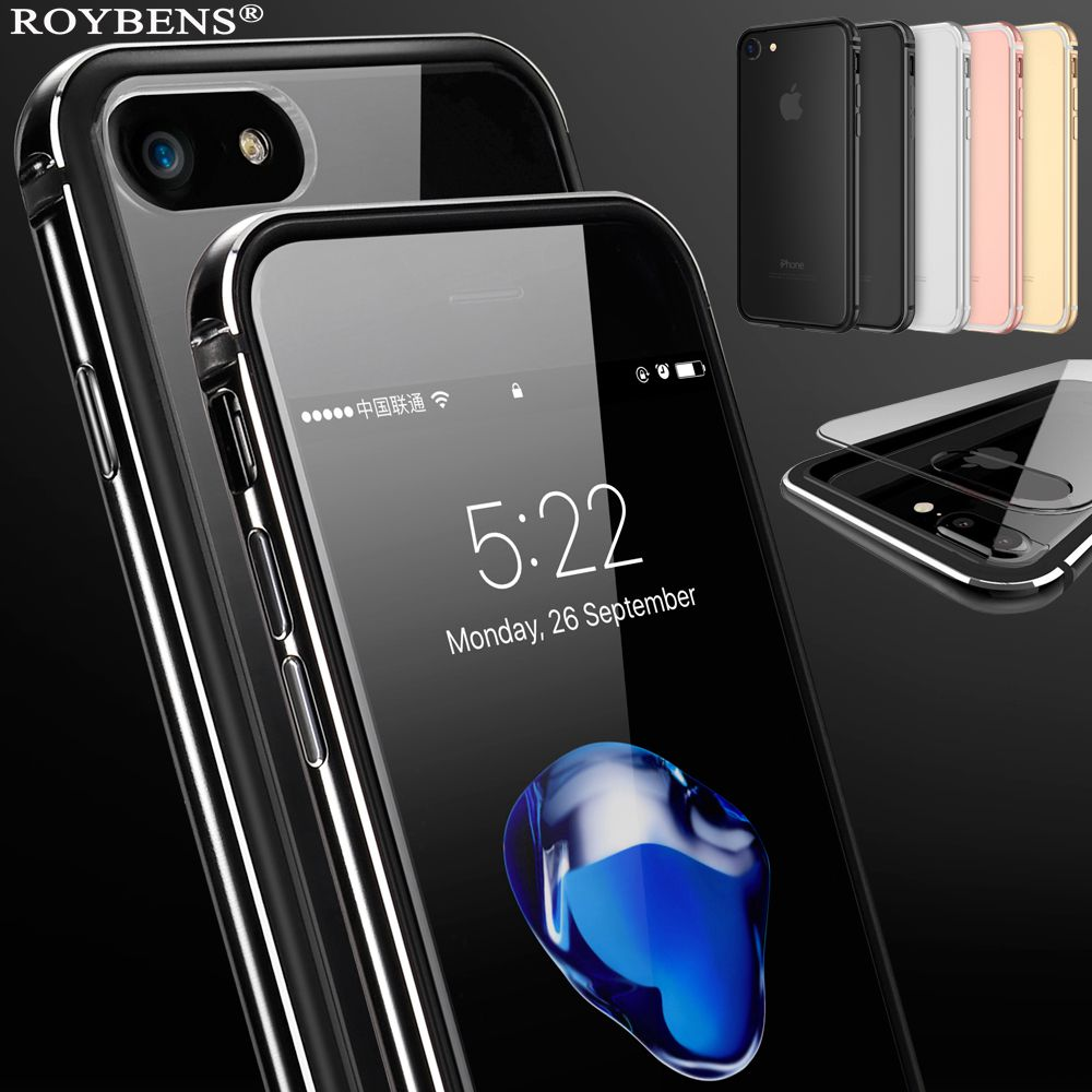 For iPhone 7 Case Aluminum Metal Silicone PC Case Cover For iPhone 7 Plus Luxury Hybrid 2 in 1 Transparant Back Frame Fundas