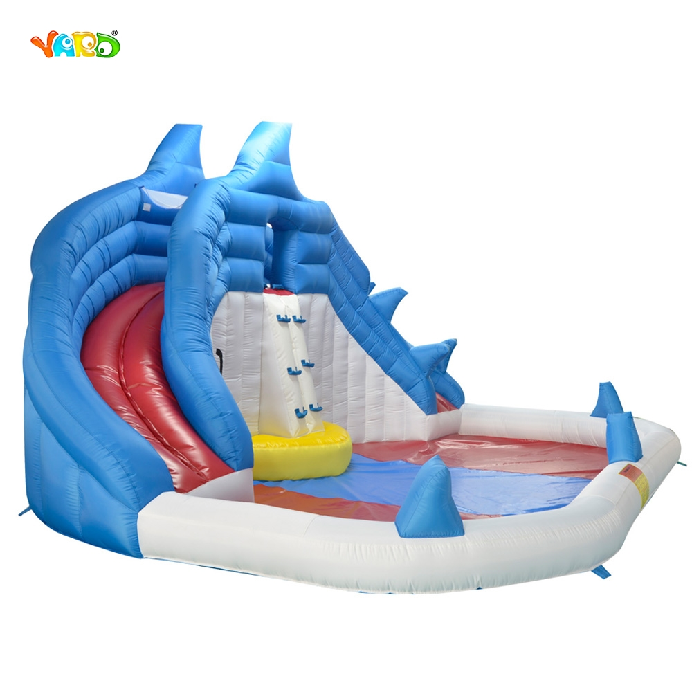 YARD backyard shark inflatable water slide swimming pool water park with blower popular best quality large inflatable water slide with pool for kids