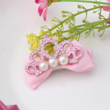 Children Glitter Leather Hollow Crown Pearl Buttlefly Tie Headbands Hairpins Baby Hair Accessories Girl Ribbon Bowknot Hairclip
