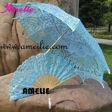Королевский Винтажный кружевной зонтик от солнца Battenberg и веер синего цвета ручной работы для свадьбы