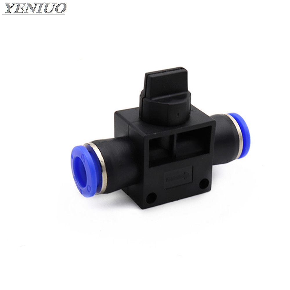 "HVFF"" Air Pneumatic Hand Valve Fitting 4mm-12mm OD Hose Pipe Tube Push Into Connect T-joint 2-Way Flow Limiting Speed Control"