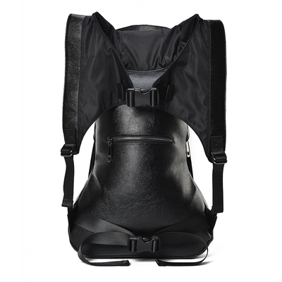 Купить с кэшбэком Large Capacity Men Restore 3D Rivets Lion backpack gothic 3D embossed leather Shoulder Bag with Hood Cap Apparel Travel Backpack