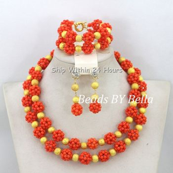 Wonderful 2 Layers Coral Beads Jewelry Set African Wedding&Party Beads Necklace Set For Brides Free Shipping ABC989