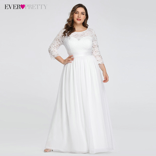 Plus Size Wedding Dresses Elegant A-Line Lace Long Beach Vintage Bridal Dress with Sleeve Ever Pretty EP07412 Vestido de Noiva 1