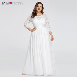 Plus Size Wedding Dresses Elegant A-Line Lace Long Beach Vintage Bridal Dress with Sleeve Ever Pretty EP07412 Vestido de Noiva 1