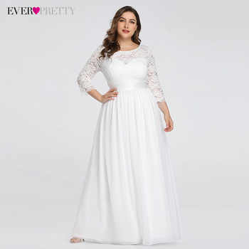 Plus Size Wedding Dresses Elegant A-Line Lace Long Beach Vintage Bridal Dress with Sleeve Ever Pretty EP07412 Vestido de Noiva - DISCOUNT ITEM  30% OFF All Category