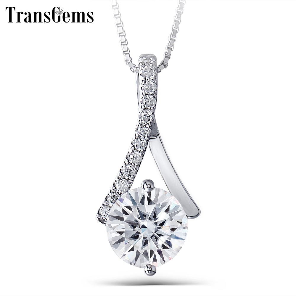 Transgems Genuine 14K 585 White Gold 1.64CTW 7.5mm Round Brilliant GH Color Moissanite Pendant with Accent Necklace for WomenTransgems Genuine 14K 585 White Gold 1.64CTW 7.5mm Round Brilliant GH Color Moissanite Pendant with Accent Necklace for Women