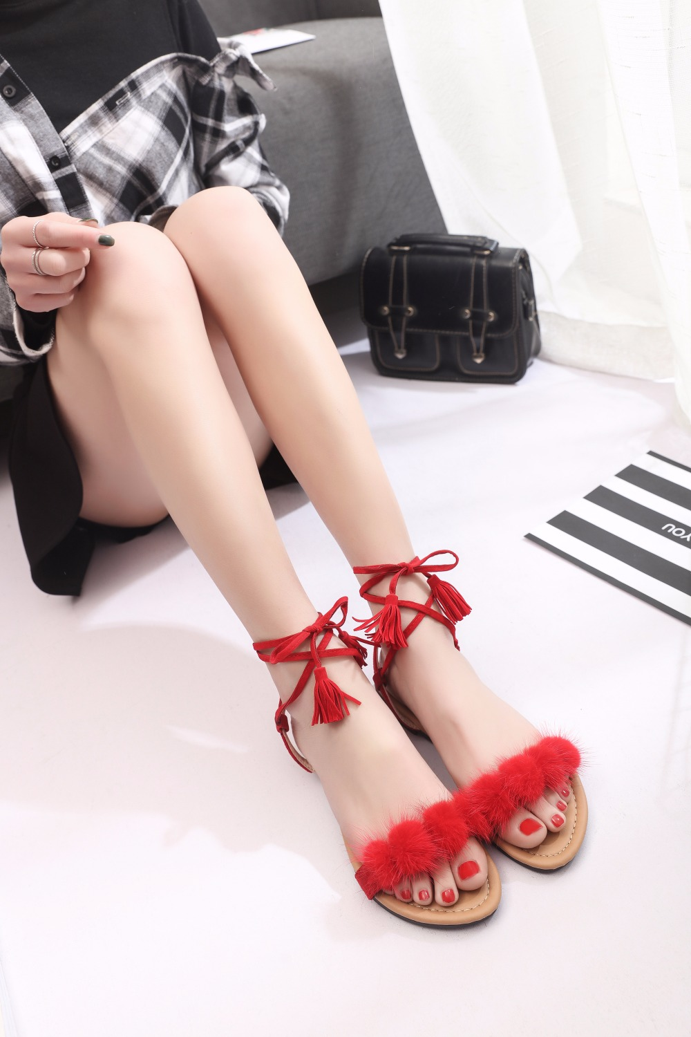 b3650b5e0 Real Fur Ankle Strap Gladiator Sandals Women Flats 2019 Summer Tassel Shoes  Ladies Wedding Beach Sandals m863-in Women s Sandals from Shoes on ...