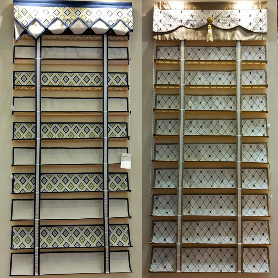 Melhor de Luxo Cortinas Romanas com o Jeito para cima e para baixo o sistema tipo rolo DIY LOGOTIPO da Empresa Roman Shades para Lobby Sala de restaurante - 2