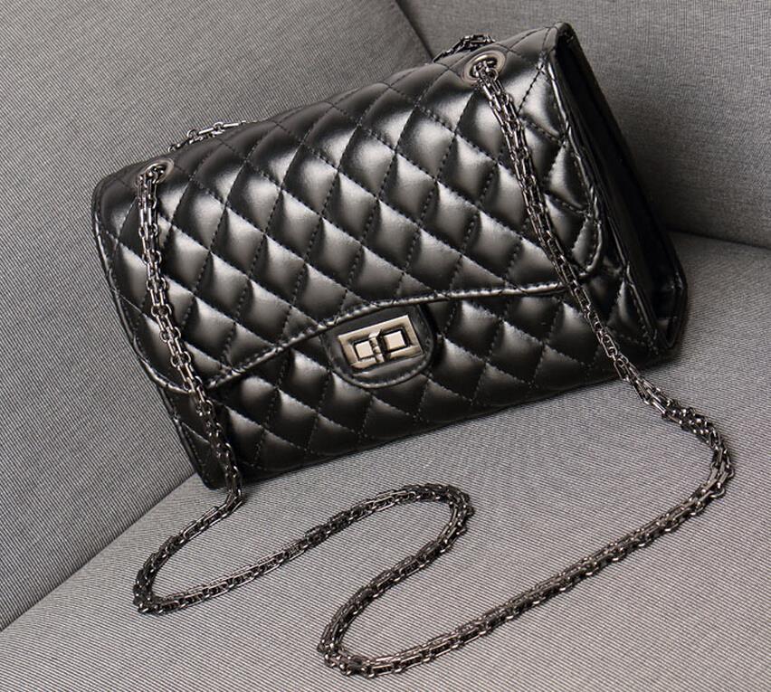 2017 Women Handbag Black Bolsa Quilted Leather Crossed Chain Plaid Crossbody Shoulder Bag De Couro Feminina Sac Femme Hand Borse In Bags From