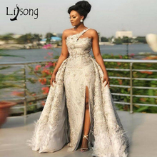 Luxury 2019 Feather Lace Evening Dresses Detachable Train Bead Flower Mermaid Long Prom Gowns Sexy High Side Split Party Dress