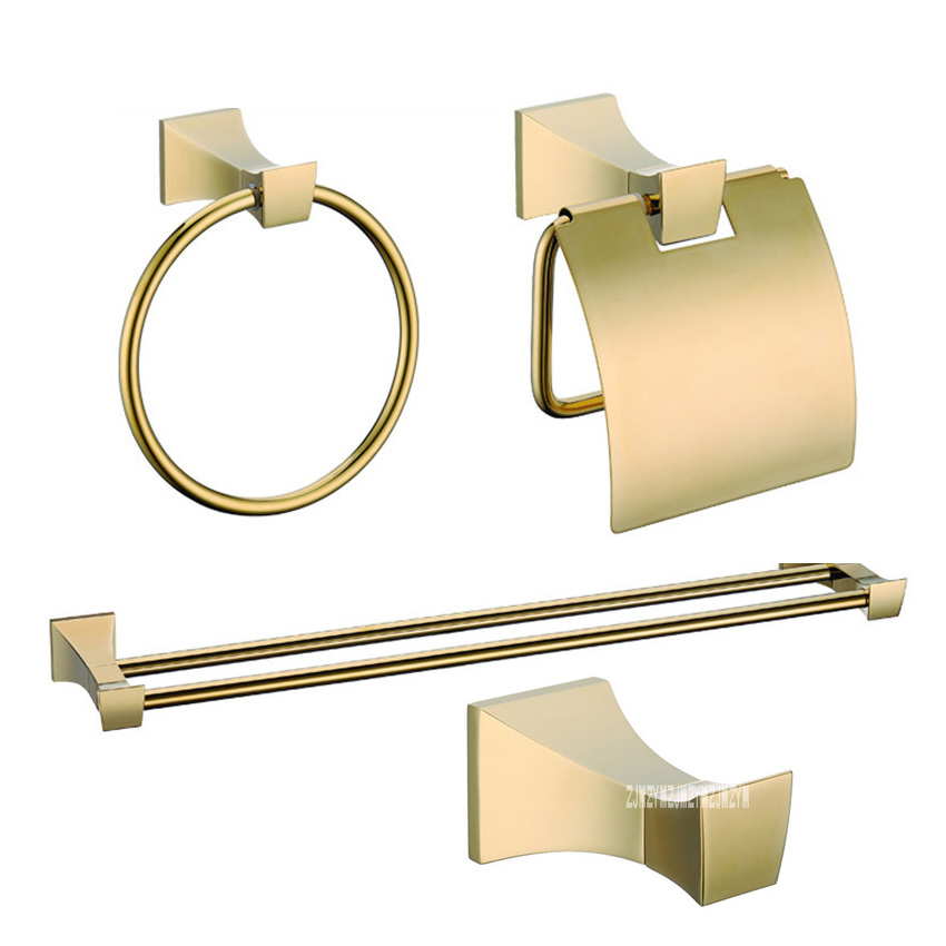 Luxury Gold Wall Bathroom 4 Accessories Hardware Sets KE2500A Clothes Hook Towel Ring Double Pole Towel Rack Toilet Paper Holder bathroom towel racks wall hook bar double pole single pole rack bathroom