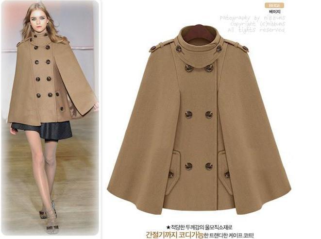 Женское двубортное пальто с рукавами летучая мышь, шерстяное пончо, плащ, верхняя одежда - Цвет: camel
