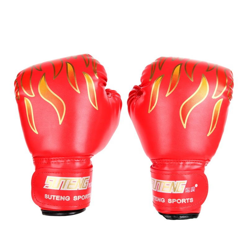 1 Pair Children <font><b>Boxing</b></font> <font><b>Gloves</b></font> Fitness Sponge PU Hand Protector Kids Fire Printed Breathable Built-in Fitness Training Sportswear image