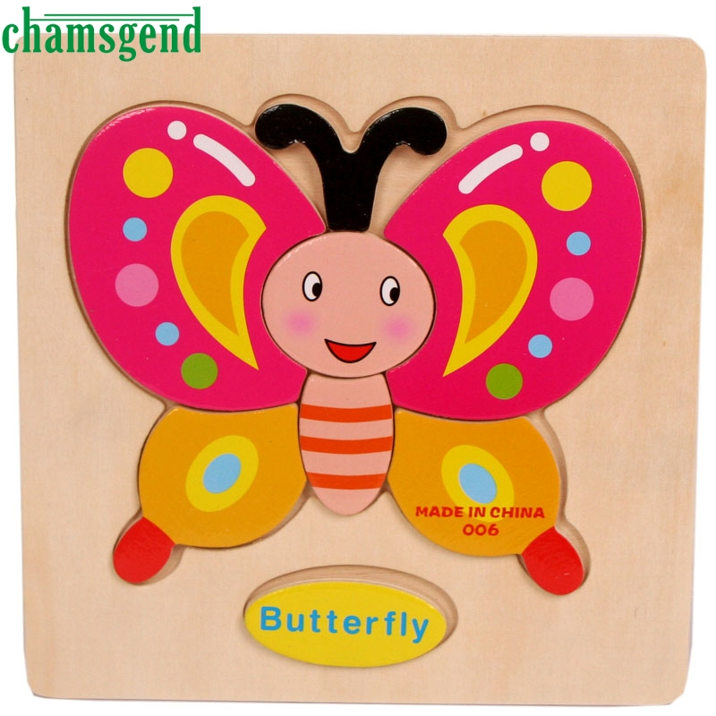 High Quality Wooden Butterfly Puzzle Educational Developmental Baby Kids Training font b Toy b font Aug24