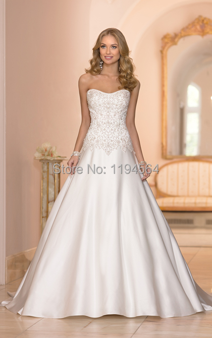 Vintage Satin 2014 Bridal Gowns Lace Corset Wedding ...